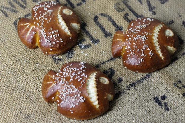 Muscheln gebacken aus Brezenteig