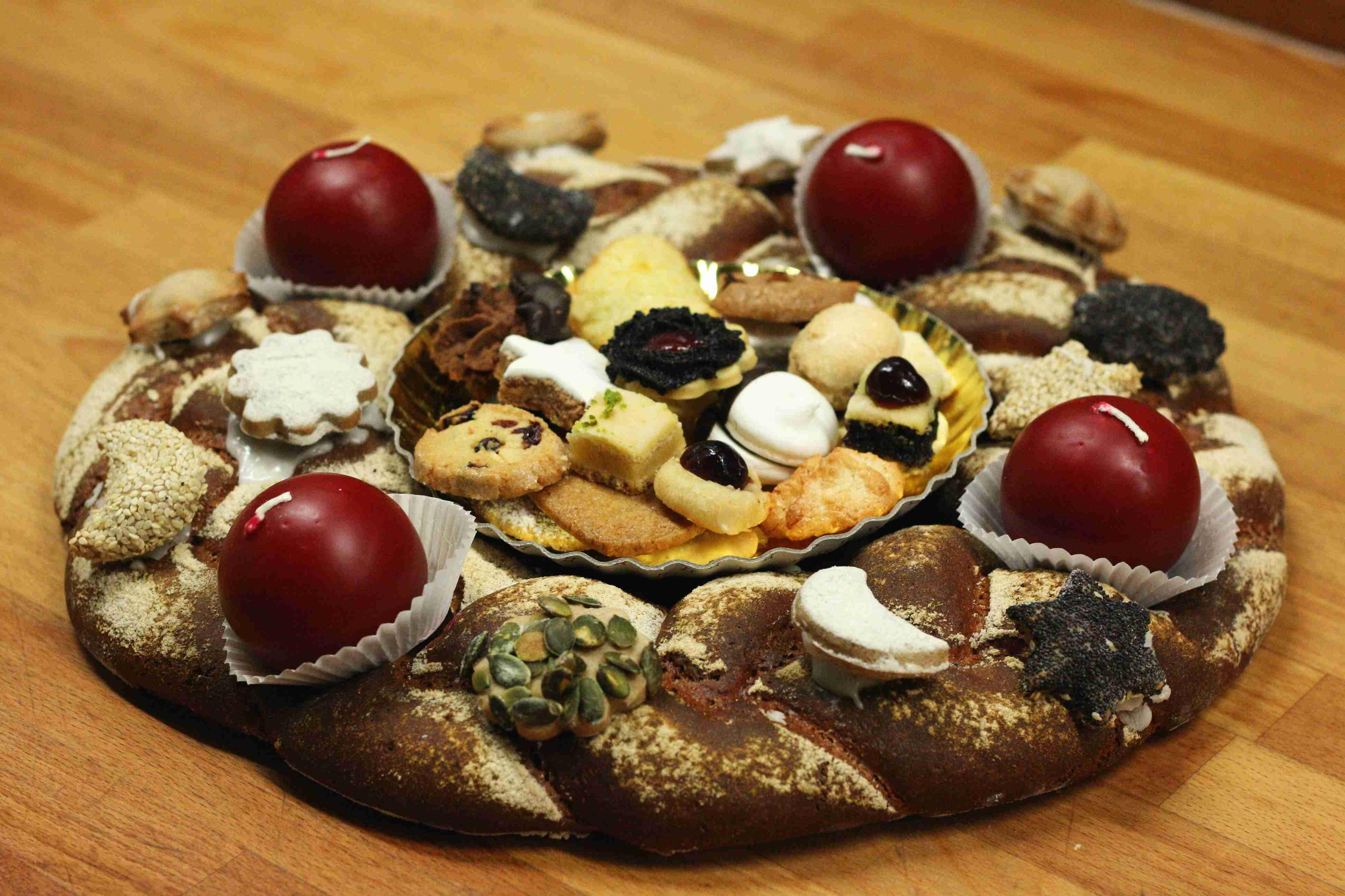 Adventskranz aus Brotteig